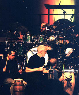 John Wyre (Centre) with drum set artist Peter Erskine and Vancouver percussionist Sal Ferreras (Left Centre)