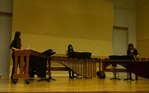 "Marimba Trio (Rena, Erika,and Ayaka) performing ""Sculpture In Wood"" by R. Pawassar"