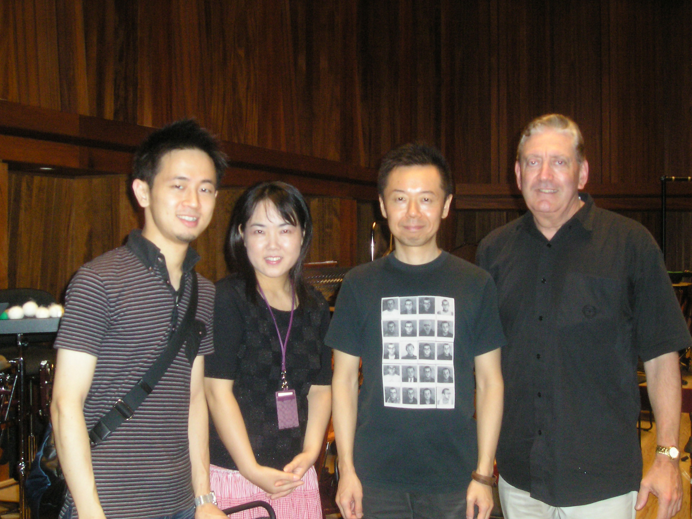 P.A.C. Timpanist Naoki, Percussionists Yoshiko and Atsushi, with Bill