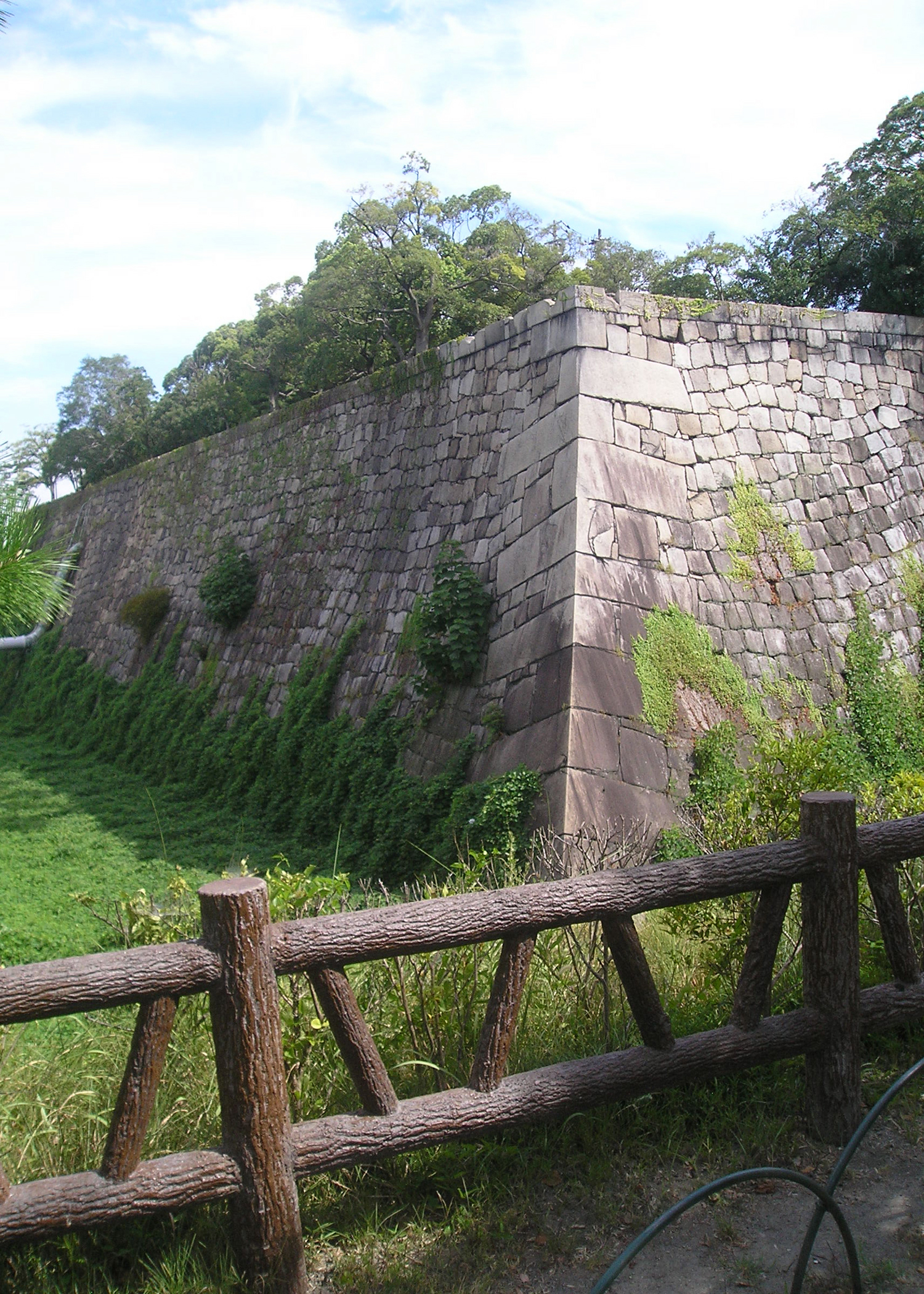 Massive Stone Wall and Dry Moat at Osaka Castle