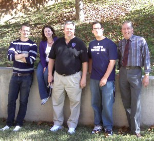 Chris Thomas (center), Bill Cahn (right), with L.U. students (l-r ) Luke Talian, Katie Hancock, and Joe Robson