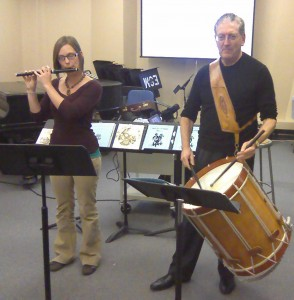 Megan Arns on fife and me on long drum at the Nov. 4, 2010 Eastman Percussion Studio Class