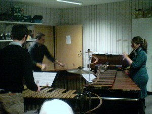 Ensemble Evolution rehearsing at the Institute Percussion Studio