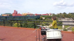 Eastman School DMA candidate, Andrea Venet, on a platform overlooking the Genesee River Gorge