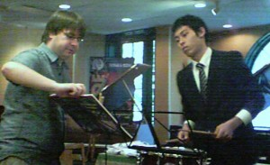 Student from the Kunitachi School plays snare drum for Mark Boseman