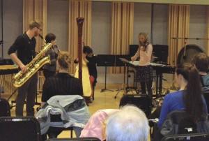 Feb. 25 Recital (L-R) Sumner Truax, Katherine Hart, Rosanna Moore, Christen Greer