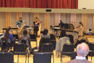 Feb. 25 Recital (L-R): Marc Abrate, Alyssa Roggow, Nick Bonaccio (back to audience), Ji Young Kim