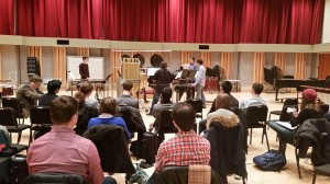 "Eastman students (l to r) Connor Stevens, Sam Um (hidden), Brant Blackard, Chris Jones, and Chris Demetriou perform ""Three Rituals on Metal"" by A.Keegan-Bole at the Amadinda masterclass at the Eastman School on Mon. Dec. 1, 2014"