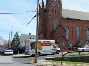 Unloading into Trinity Lutheran Church in Kingston, NY on Sunday, April 19, 2015