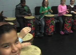 "Group 1 of ROC Drummers practicing ""Damba"""