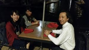 At the Tex/Mex restaurant on the Riverwalk (l-r) Aya, Nonoka, Kaz