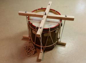 Another view of the drum inside the counter hoop clamp. (Notice that the leather ears are slackened.)