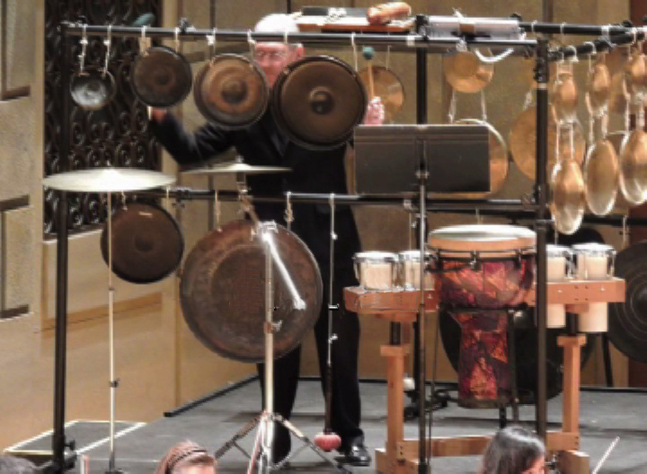 "Photo 19 - Array of gongs in a NEXUS performance of ""Rituals"" by Ellen Taaffe Zwilich"