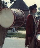 A bass drum of the Colonial Williamsburg Fifes and Drums