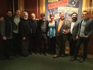 Carnegie Hall birthday celebration, Nov. 1, 2016 with (l. to r.) Josh Quillen, Jason Treuting, Garry Kvistad, Russell Hartenberger, Steve Reich, Micaela Haslam, Zoltán Rácz, Adam Sliwinski, and Eric Cha-Beach. Photo: Bonnie Sheckter.