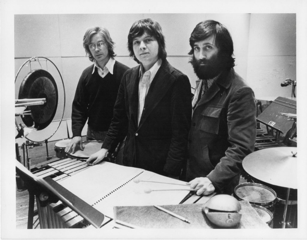 Blackearth Percussion Group, L-R Allen Otte, Stacey Bowers and me --1977
